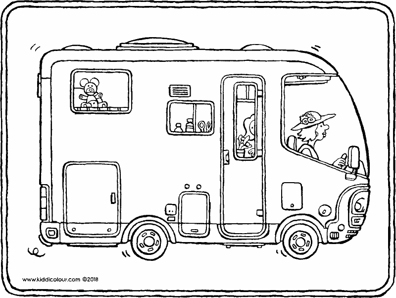 camper van colouring page drawing picture 01k