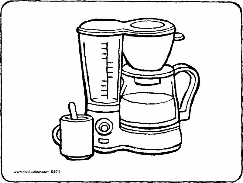coffee machine colouring page drawing picture 01k