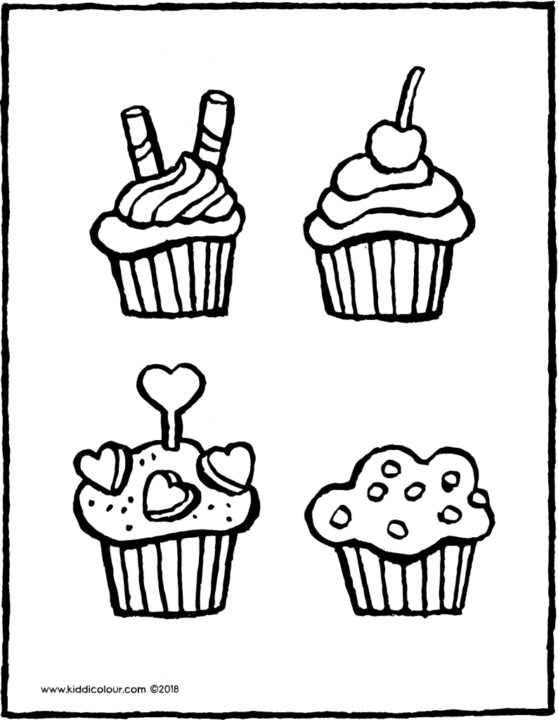 cupcakes colouring page drawing picture 01V