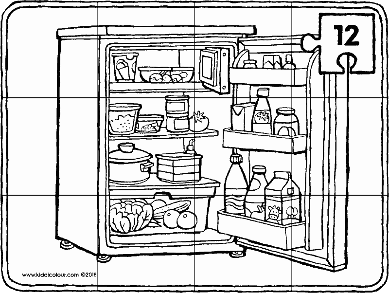 fridge puzzle 12 pieces colouring page drawing picture 01k