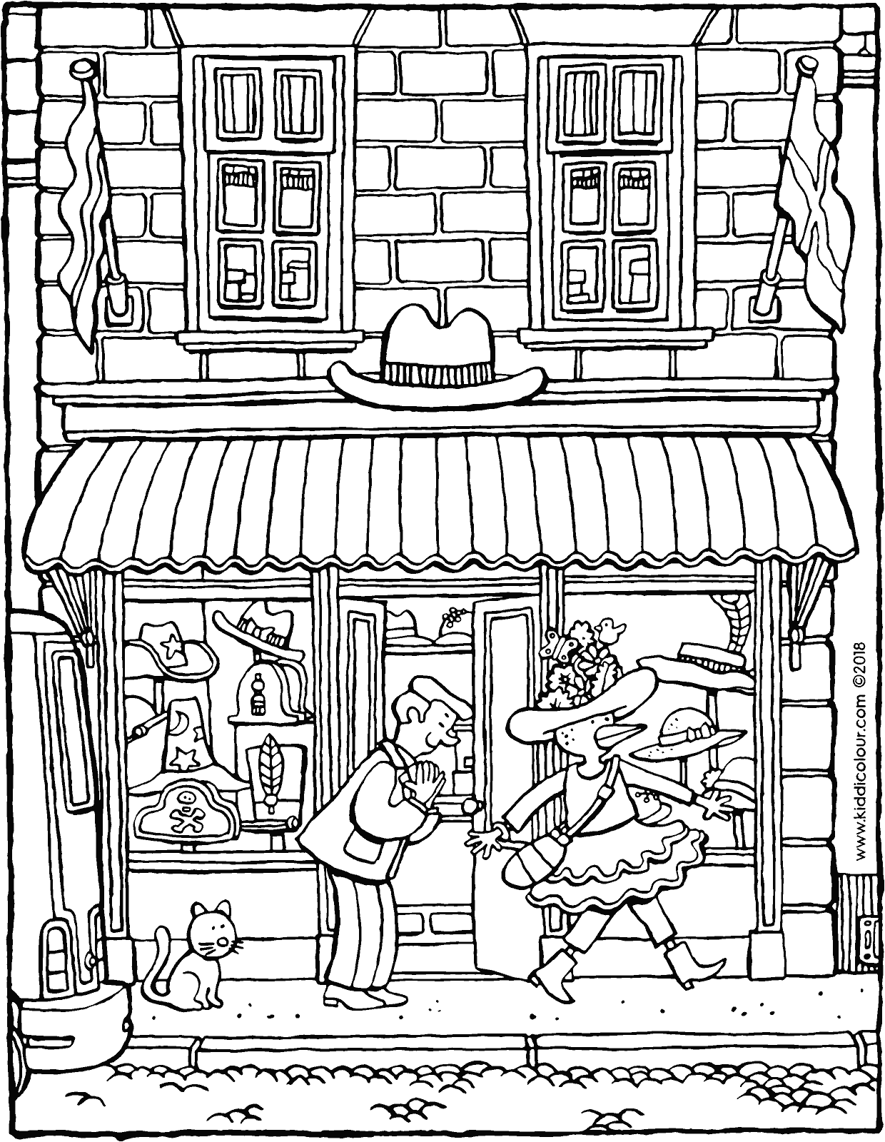 hat shop colouring page drawing picture 01V
