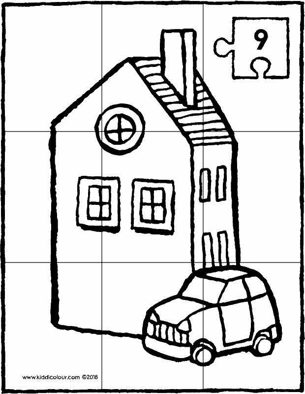 house and car puzzle 9 pieces colouring page drawing picture 01k
