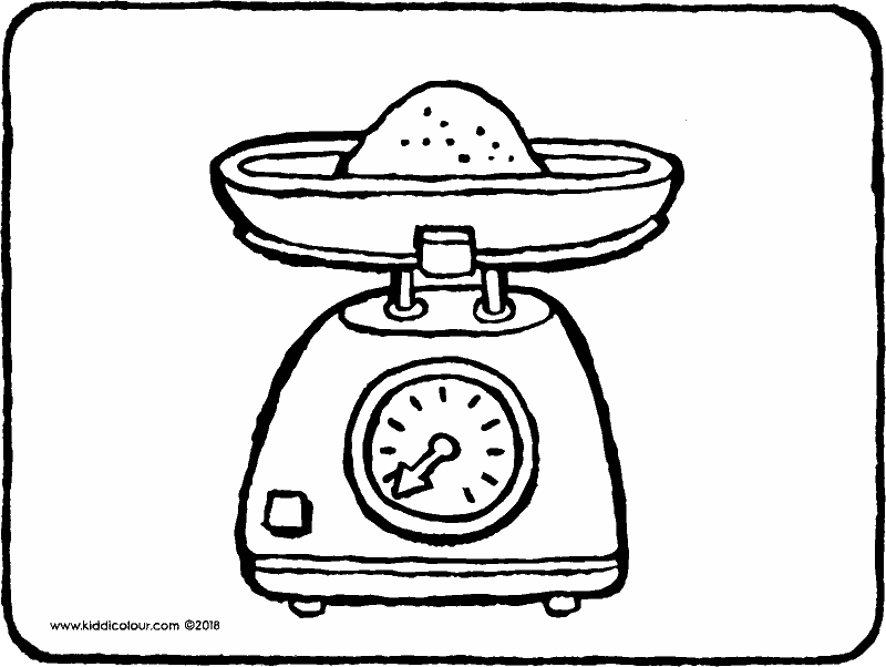kitchen scales colouring page drawing picture 01k