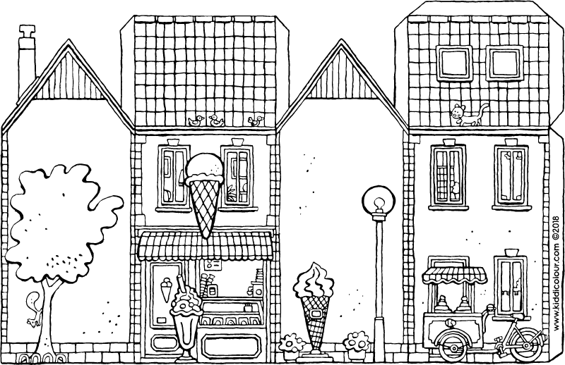 make your own ice-cream parlour colouring page drawing picture 01k