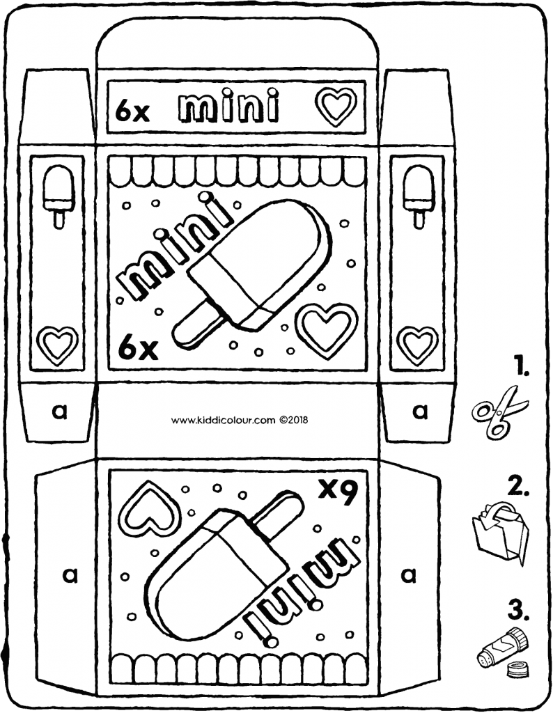 mini ice-cream packet colouring page drawing picture 01V