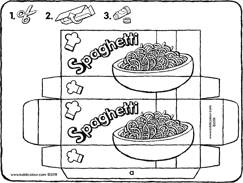 packet of spaghetti colouring page drawing picture 01k