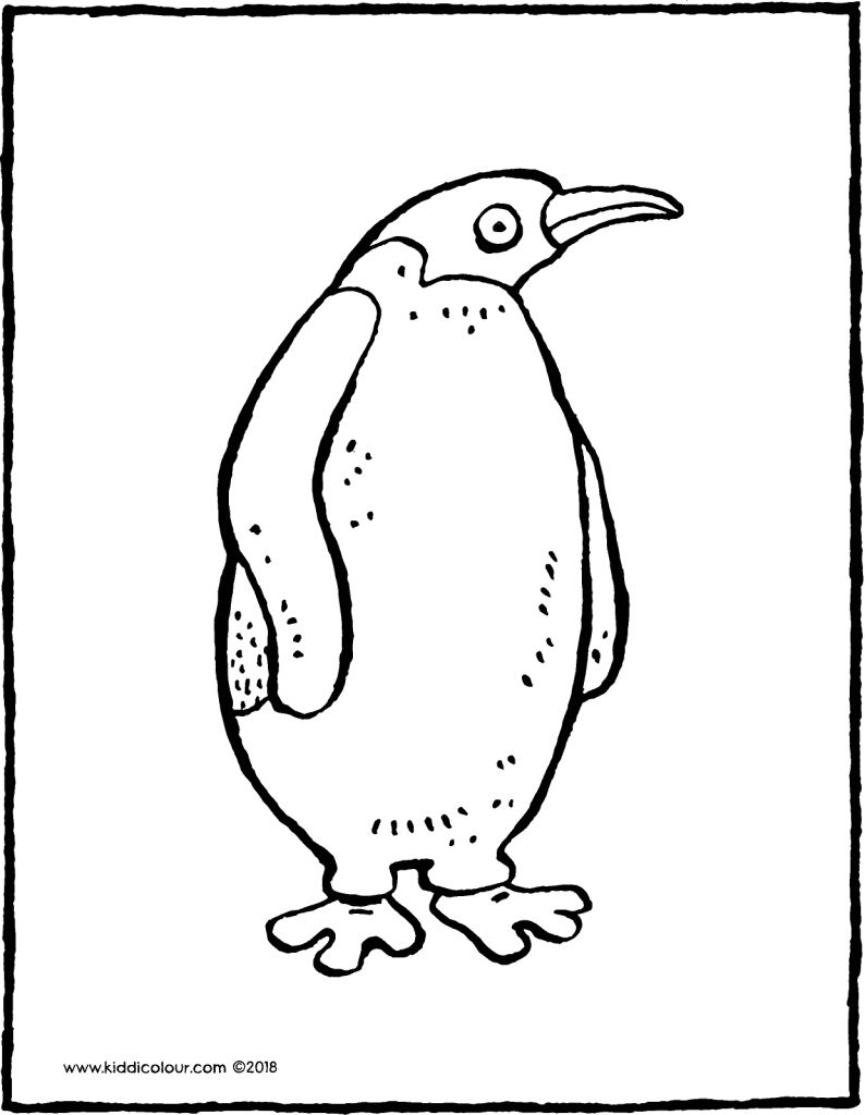 penguin colouring page drawing picture 01V
