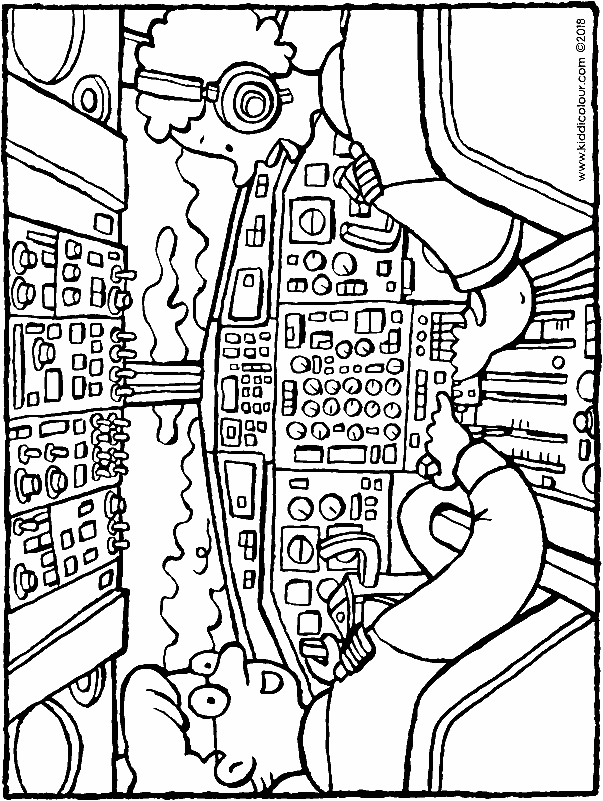 pilots in the cockpit colouring page drawing picture 01H
