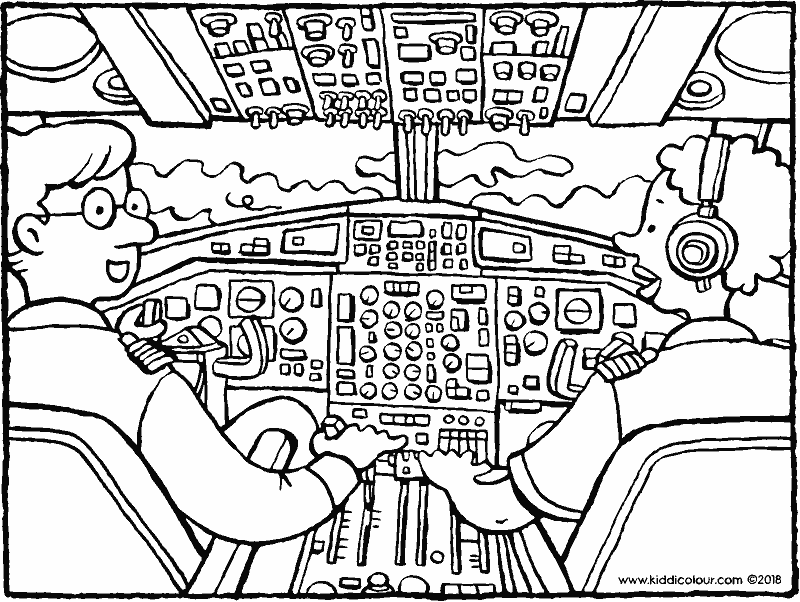 pilots in the cockpit colouring page drawing picture 01k