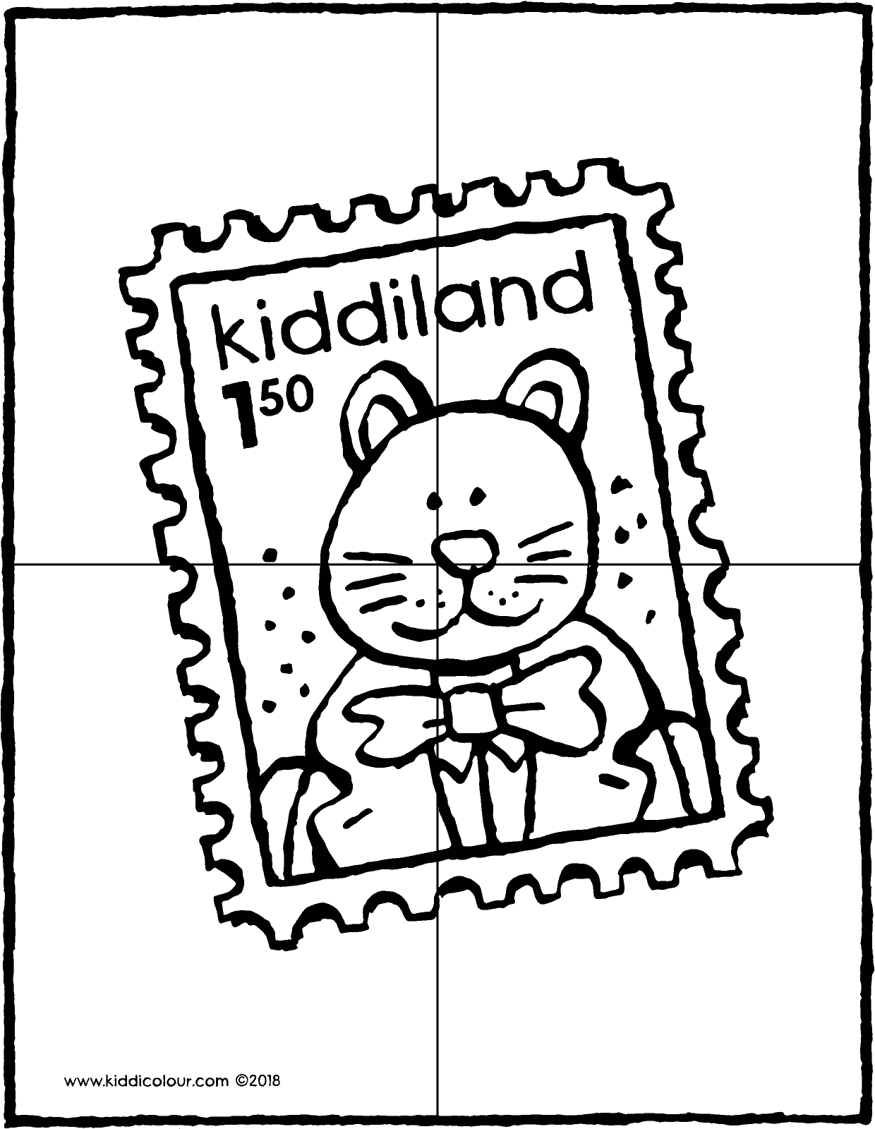 stamp puzzle 4 pieces colouring page drawing picture 01V