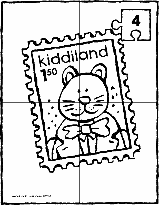 stamp puzzle 4 pieces colouring page drawing picture 01k