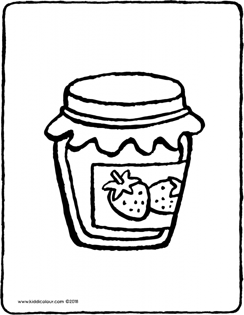 strawberry jam colouring page drawing picture 01V