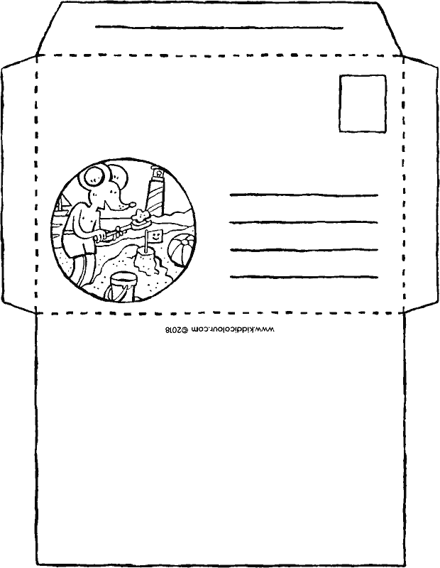 summer holiday envelope colouring page drawing picture 01k