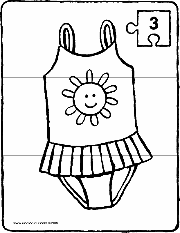 swimsuit puzzle 3 pieces colouring page drawing picture 01k