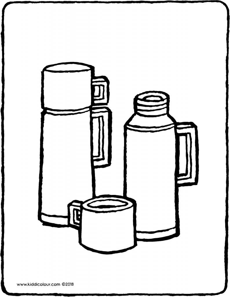 thermos flask colouring page drawing picture 01V