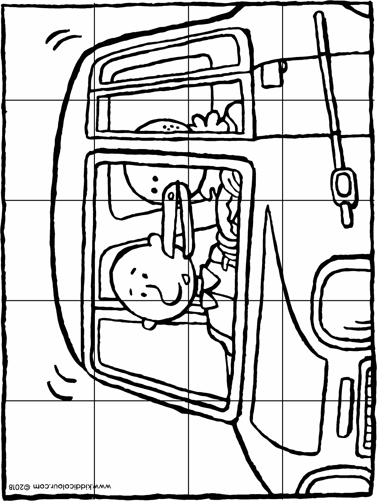 together in a little car puzzle 20 pieces colouring page drawing picture 01H