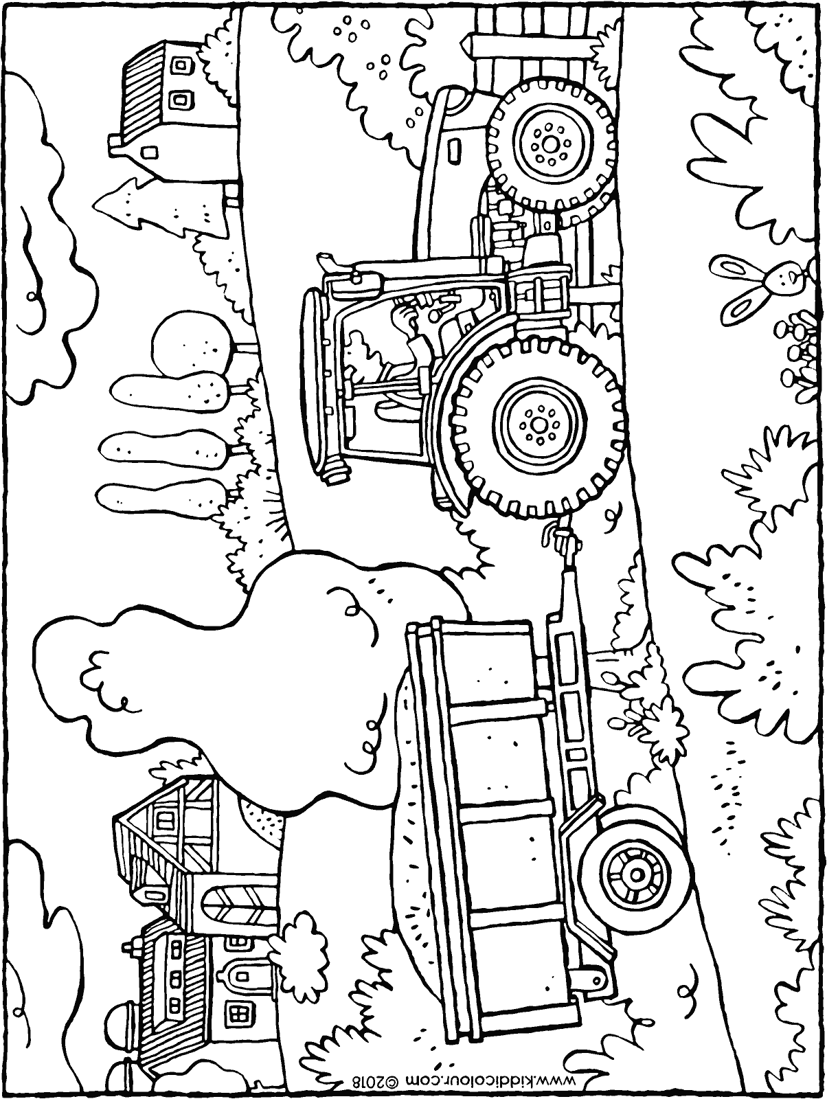 tractor and trailer colouring page drawing picture 01H