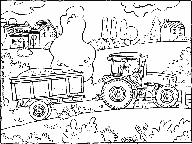 tractor and trailer colouring page drawing picture 01k