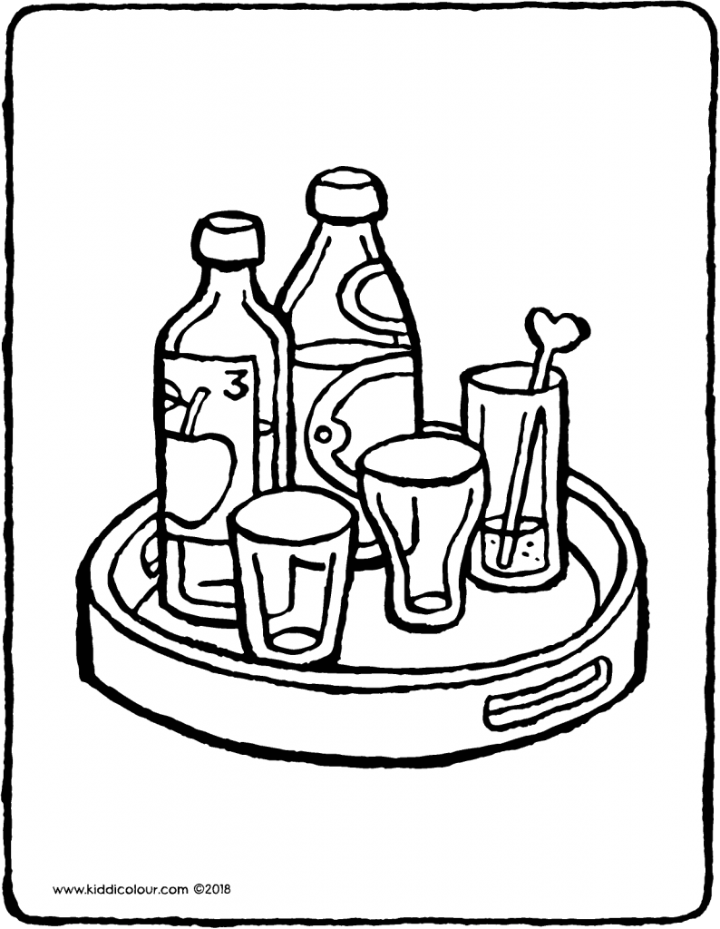 tray with bottles and glasses colouring page drawing picture 01V
