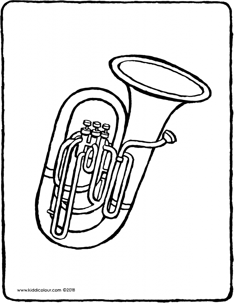 tuba colouring page drawing picture 01V