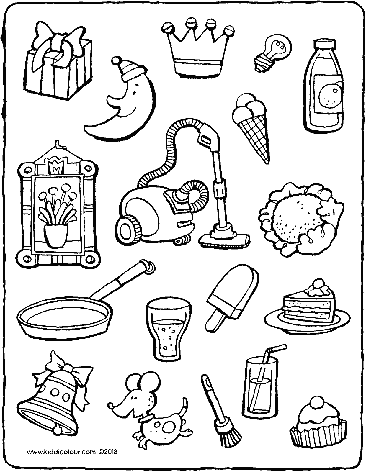 which objects are birthday-related colouring page drawing picture 01V