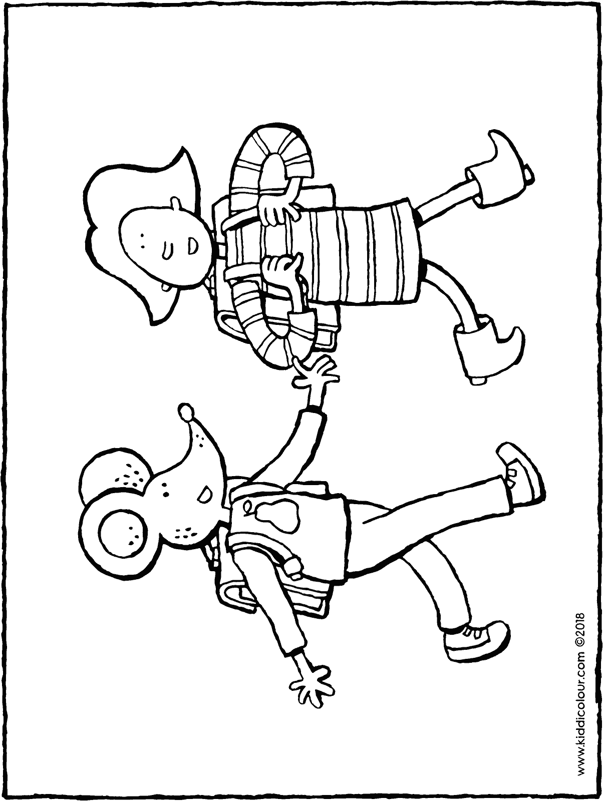 Emma and Thomas go to school colouring page drawing picture 01H