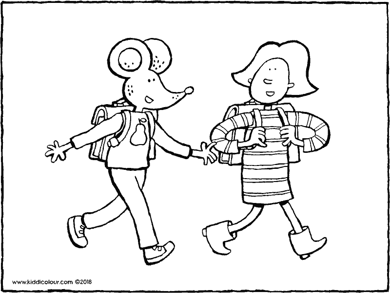 Emma and Thomas go to school colouring page drawing picture 01k