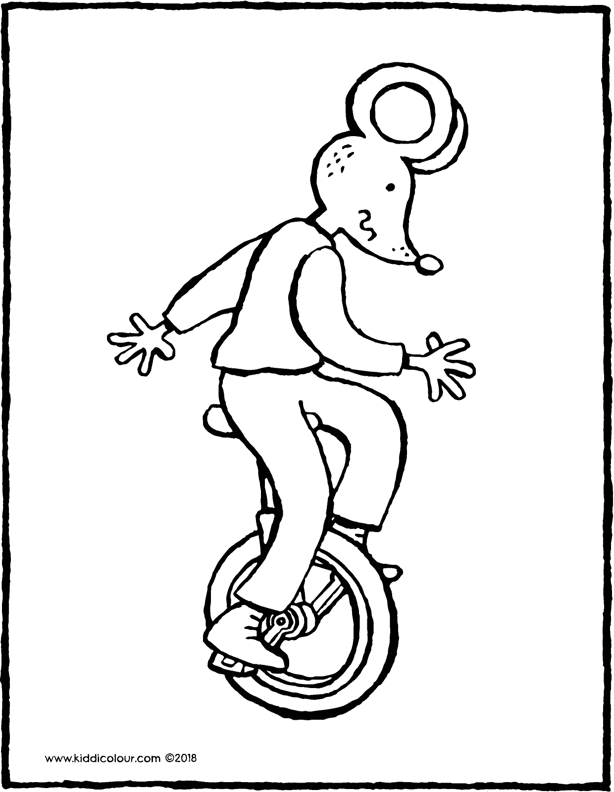 Thomas riding a unicycle colouring page drawing picture 01V