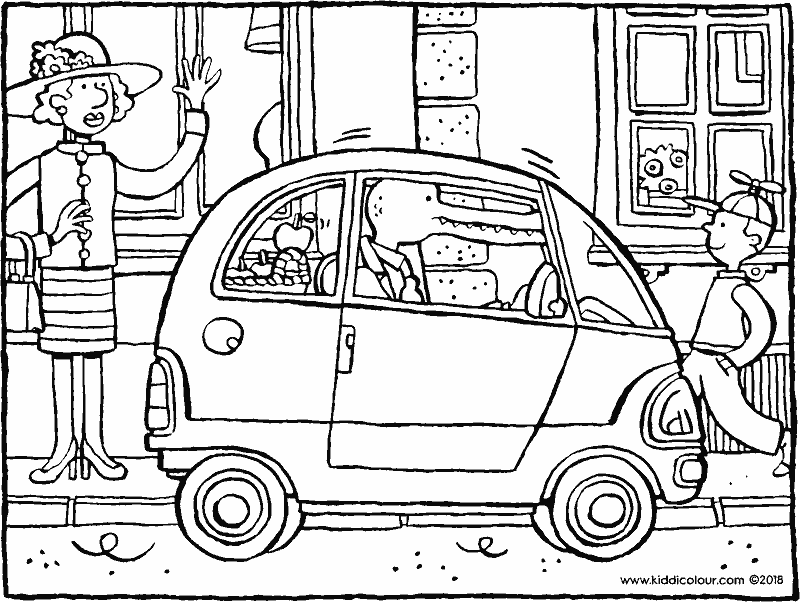 a small city car colouring page drawing picture 01k