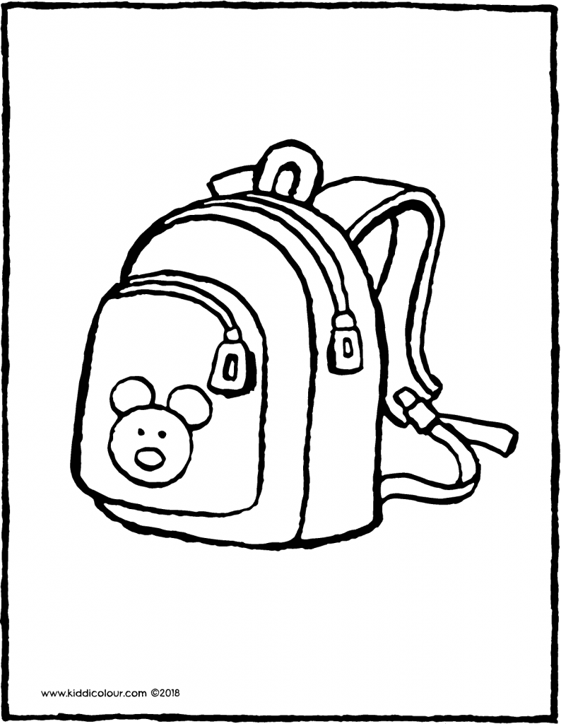 backpack colouring page drawing picture 01V