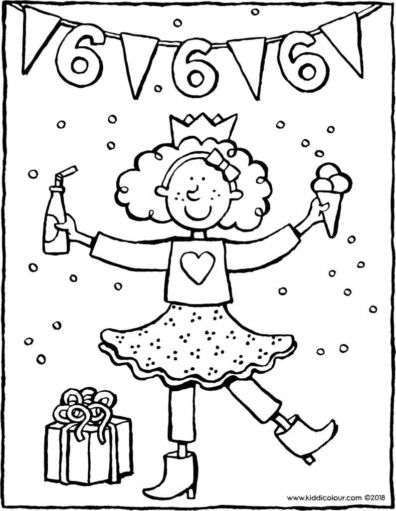 birthday 6 year-old girl colouring page drawing picture 01V