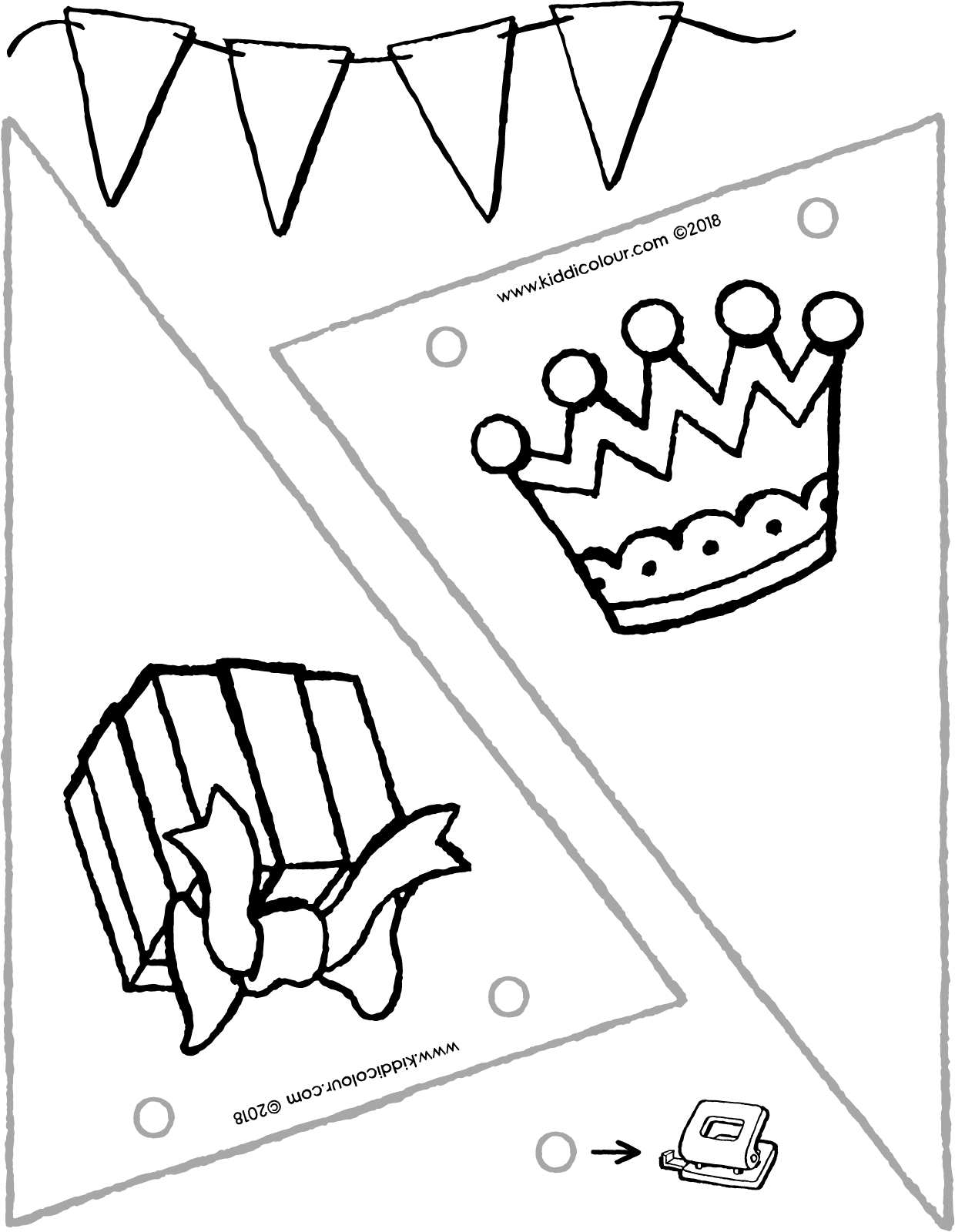 birthday flags colouring page drawing picture 01V