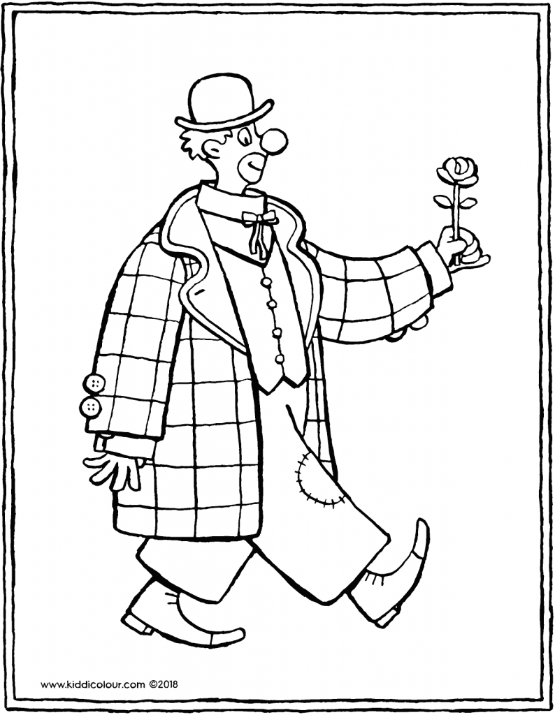 clown with flower colouring page drawing picture 01V
