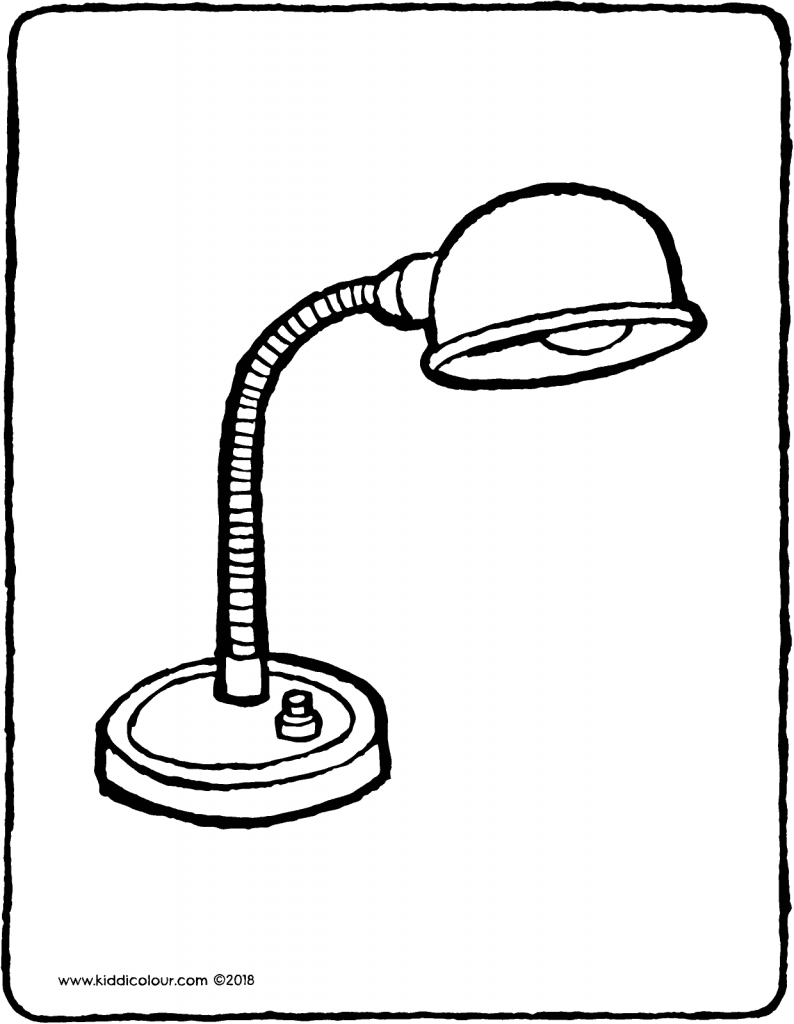 desk lamp colouring page drawing picture 01V