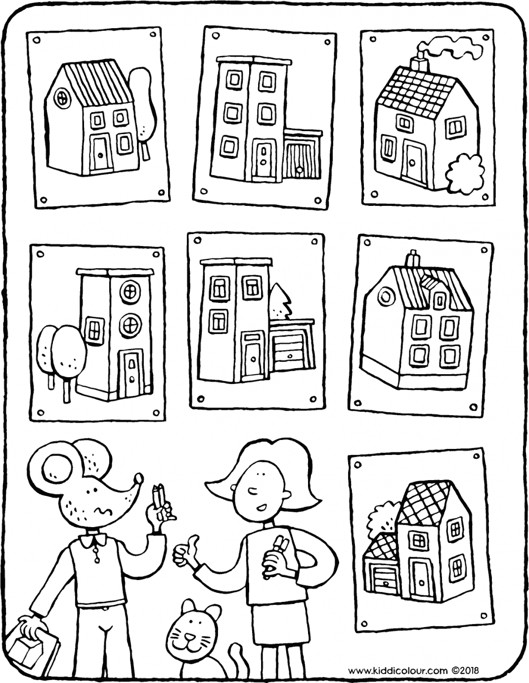 find the right houses colouring page drawing picture 01kV