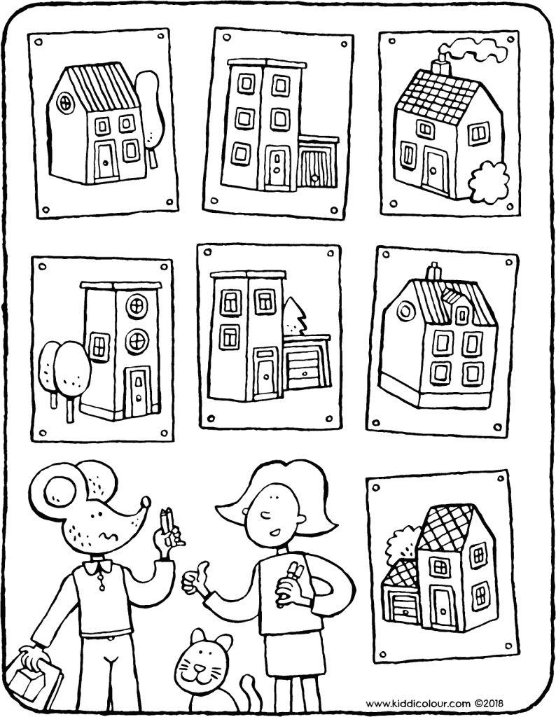 Find the right houses · find the right houses colouring page