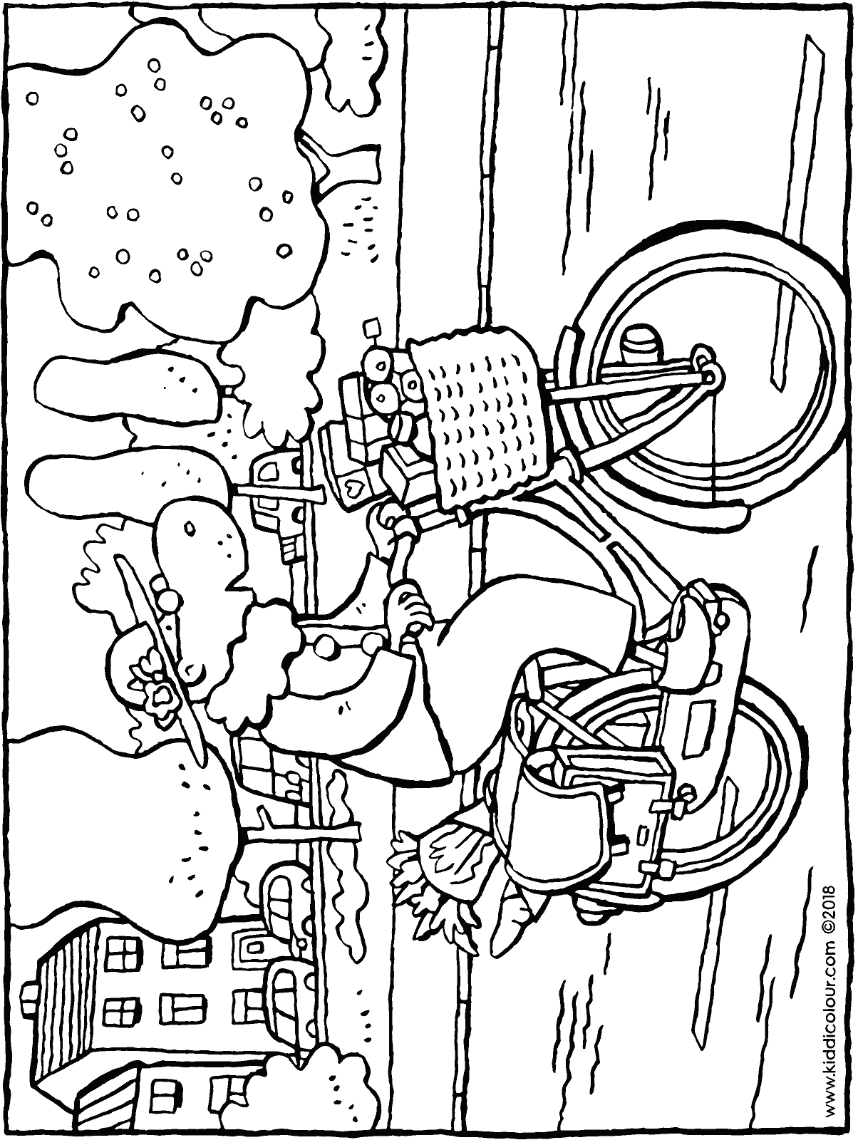 granny goes shopping on her bike colouring page drawing picture 01H