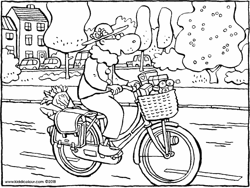 granny goes shopping on her bike01k.png colouring page drawing picture 01k