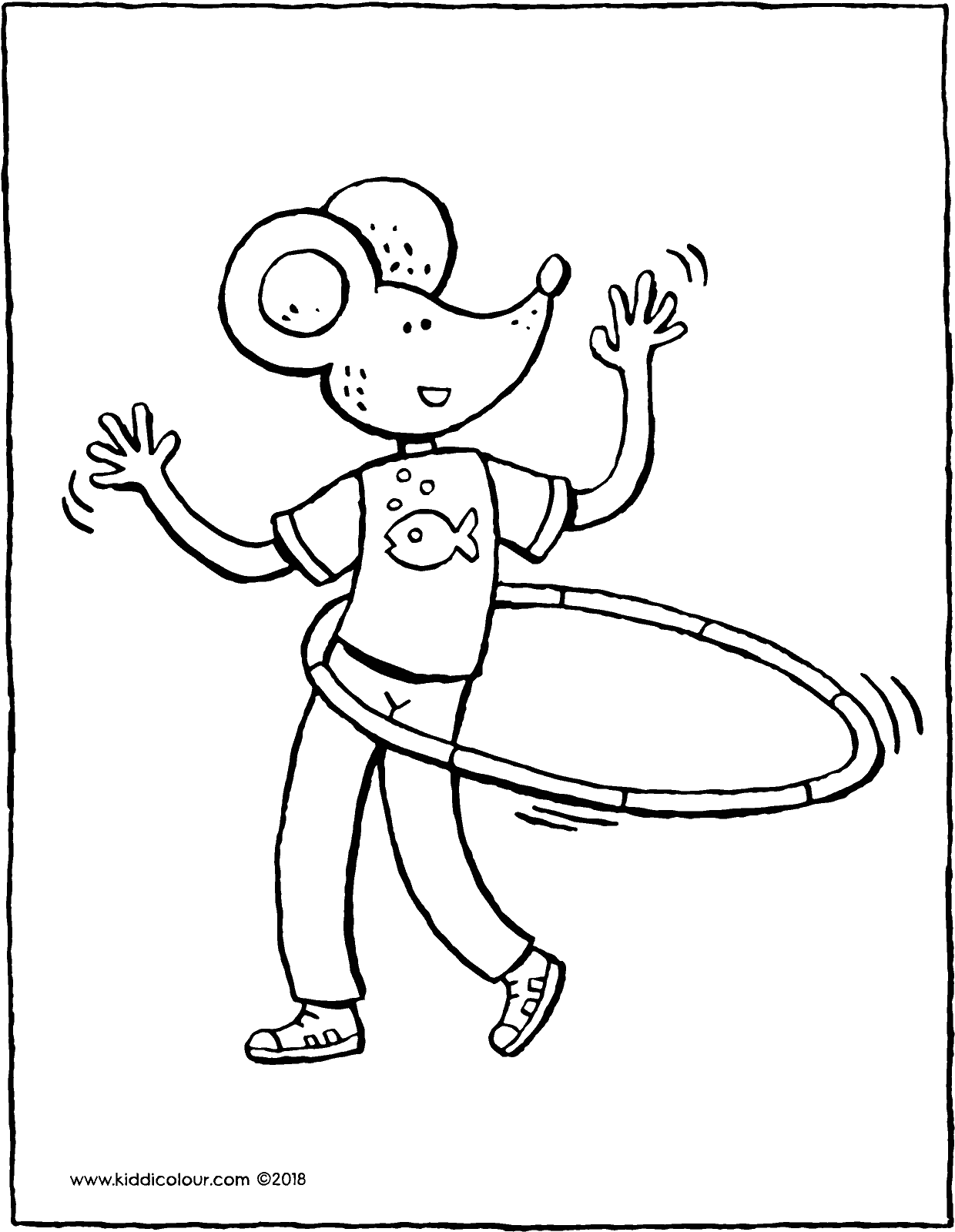 hula-hooping with Thomas colouring page drawing picture 01V