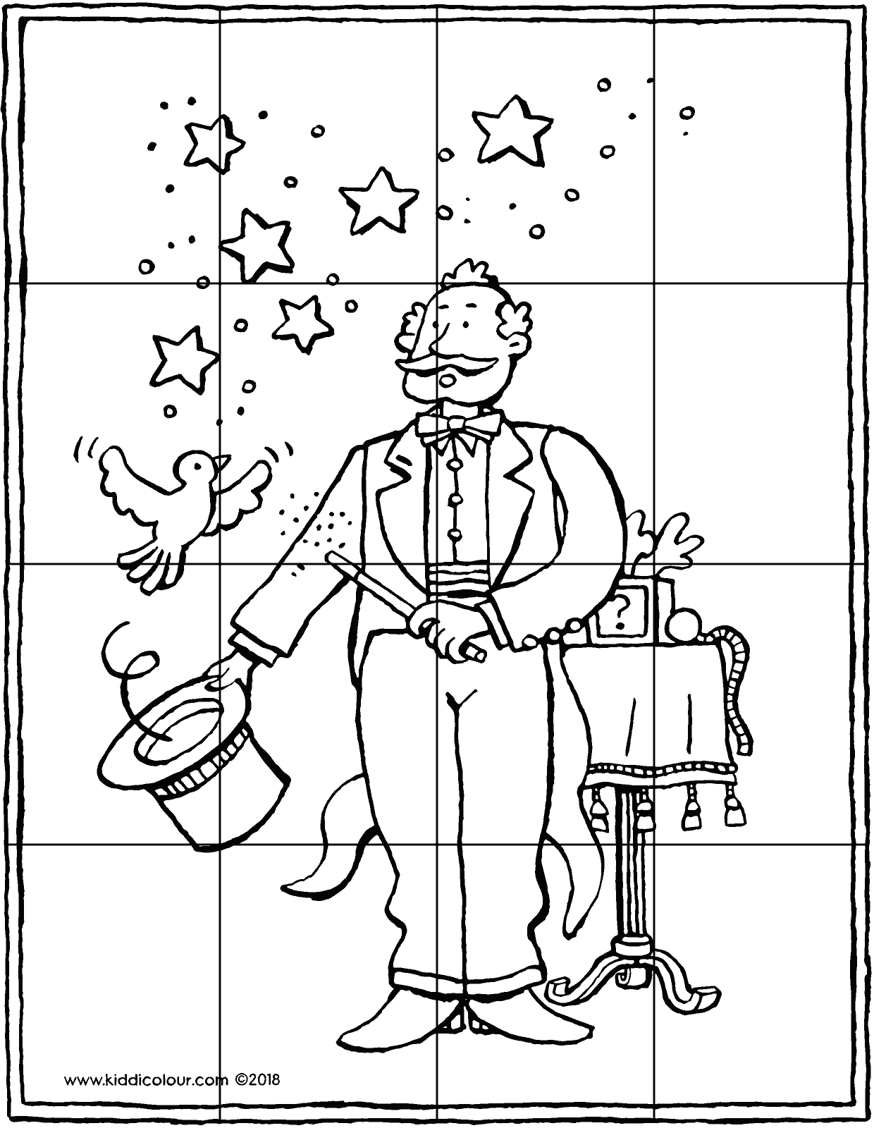 magician puzzle 16 pieces colouring page drawing picture 01V