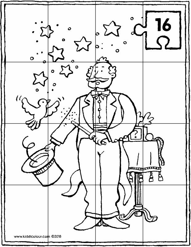 magician puzzle 16 pieces colouring page drawing picture 01k