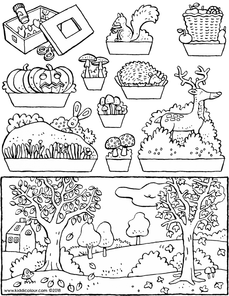 make your own autumn diorama colouring page drawing picture 01V