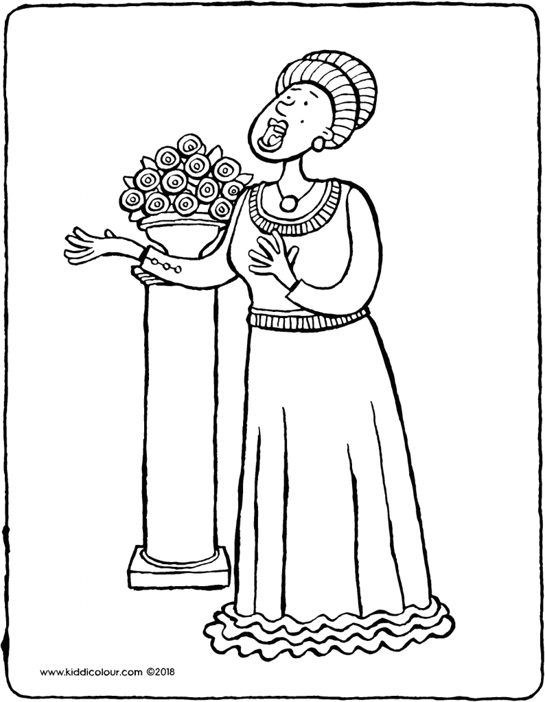 opera singer colouring page drawing picture 01V