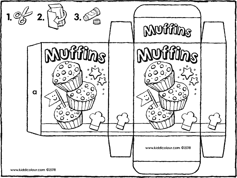 packet of muffin mix colouring page drawing picture 01k
