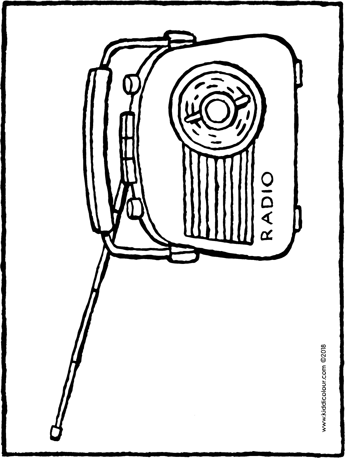 radio colouring page drawing picture 01H
