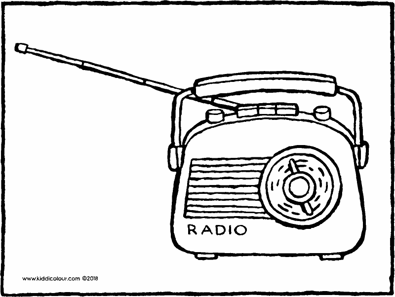 radio colouring page drawing picture 01k