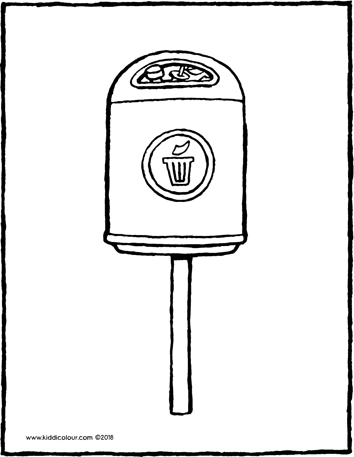 rubbish bin colouring page drawing picture 01V