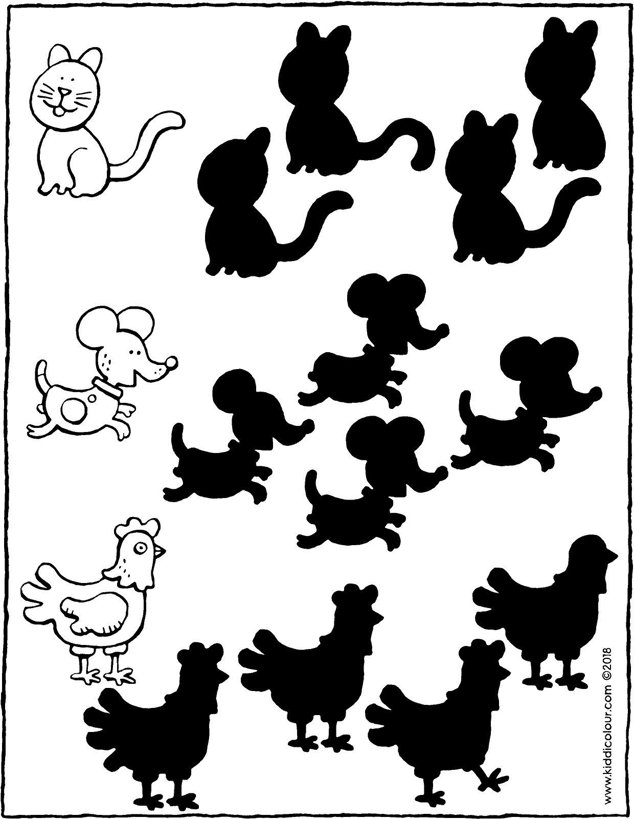 spot the correct animal shadow colouring page drawing picture 01V