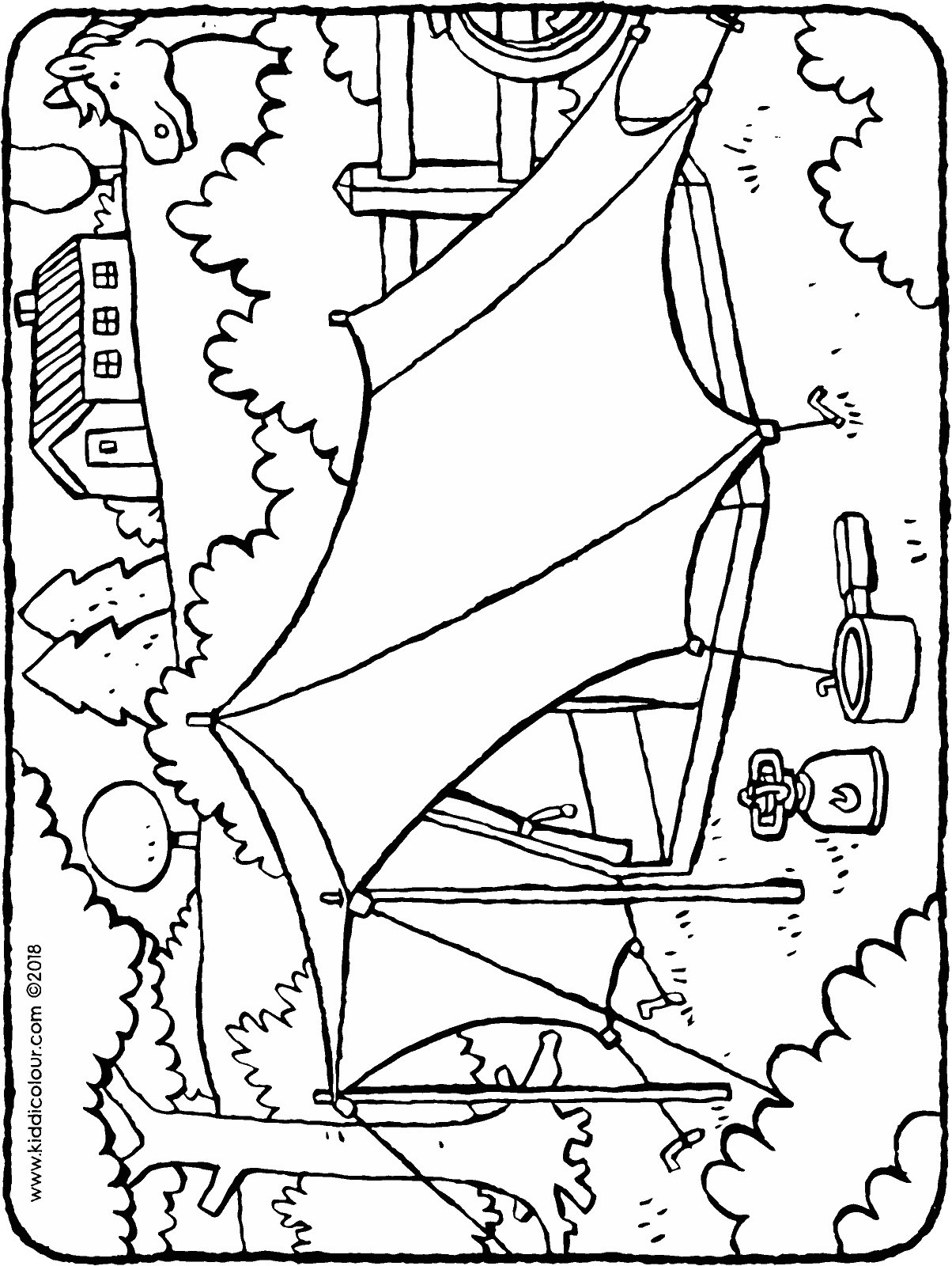 tent colouring page drawing picture 01H