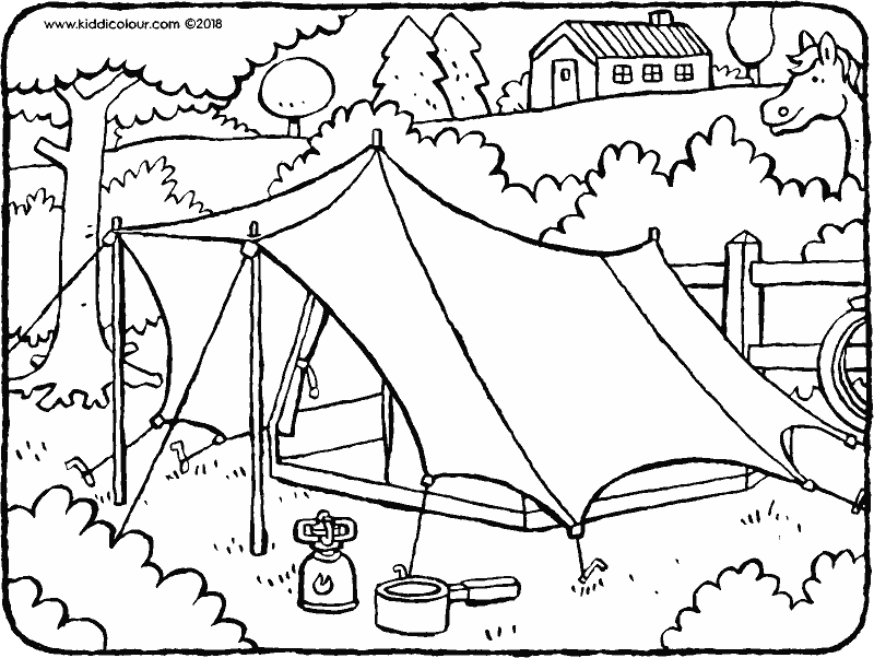 tent colouring page drawing picture 01k